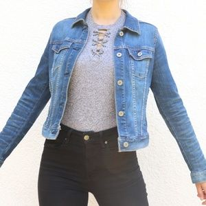 Cropped Blue Jean Denim Jacket